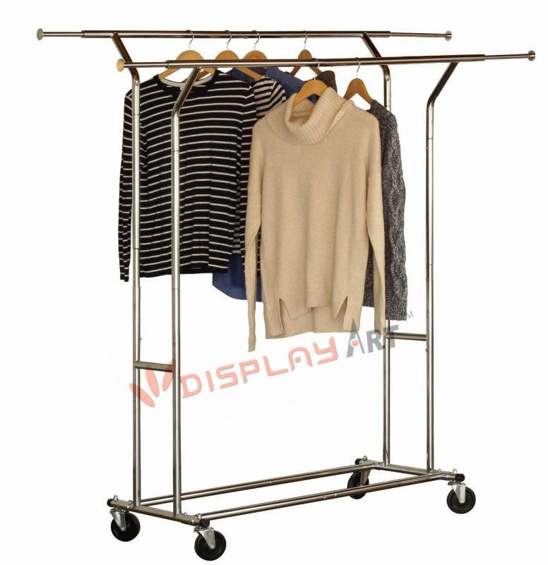 Folding Collapsible Rolling Salesman Garment Rack Heavy