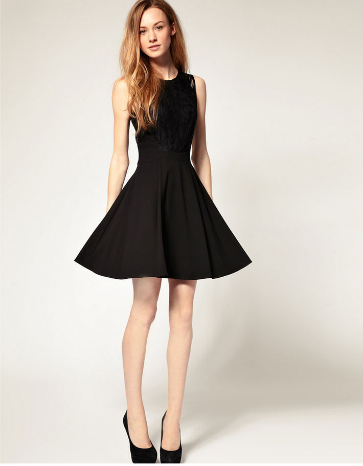 Compre 2014 Moda Nuevo Vestido Negro Cosido Ambiente Clásico Espectáculo Fino Brote De La Cintura Aceptar Vestido De Cintura De Europa Y América A
