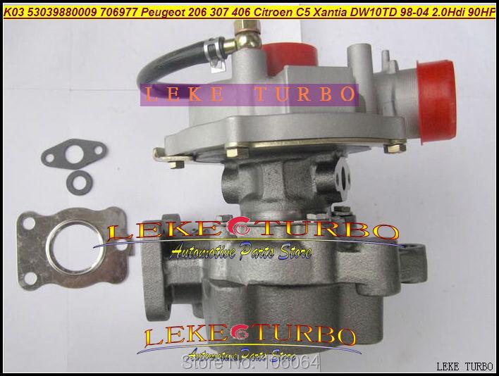 K03 53039880009 53039700009 706977-0003 Turbo Turbocharger For Peugeot 206 307 406 Citroen C5 Xantia DW10TD RHY 1998-2004 2.0L HDI 90HP (5)