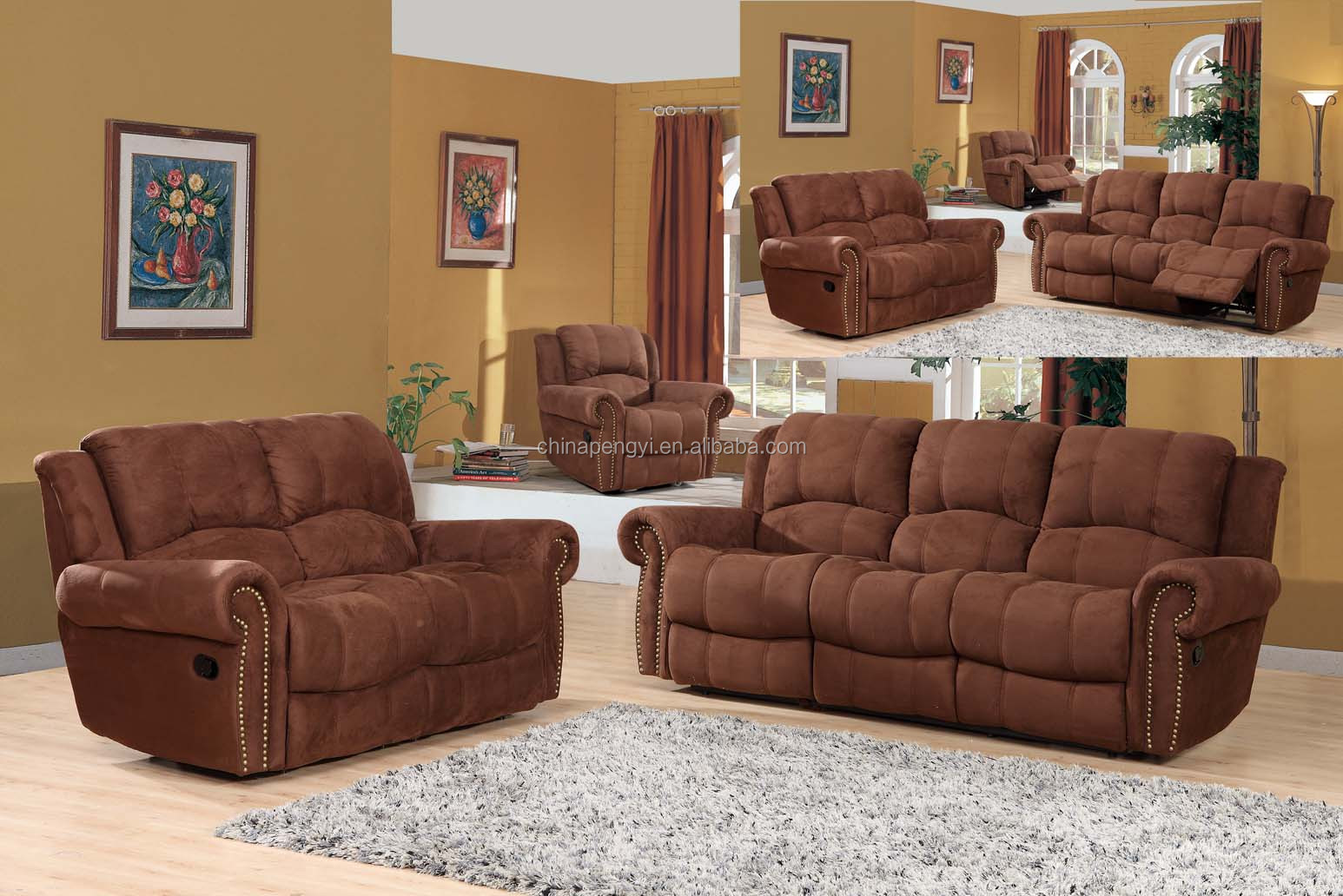 Modern microfiber recliner sofa sets living room furniture - Microfiber living room furniture sets ...