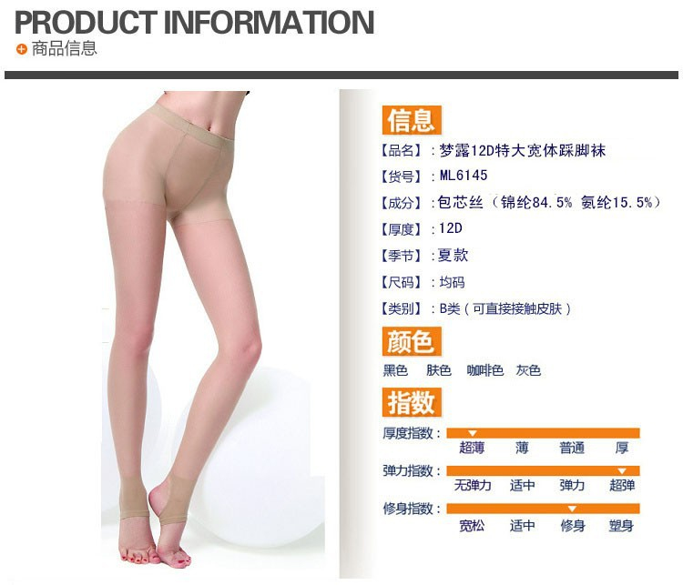 63b55d3c55a78 2015 Sexy soft and comfortable open toe large pantyhose plus size High  quality 12D thin Summer ...