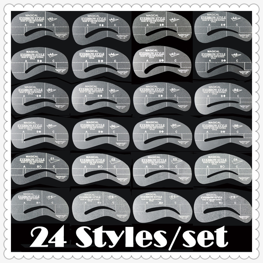 photo relating to Printable Eyebrow Stencil identified as Eyebrow stencils 24 designs reusable eyebrow drawing expert card forehead template Do it yourself generate up equipment 204778 wholesales(24 designs/great deal) - Unfair Bodyweight