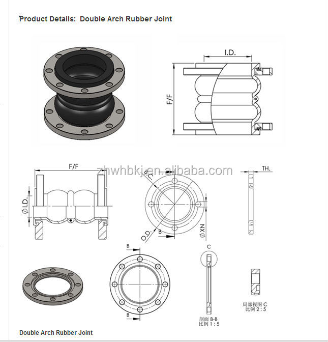 dn600 pn16 solid plate flange rubber expansion bellows. Black Bedroom Furniture Sets. Home Design Ideas