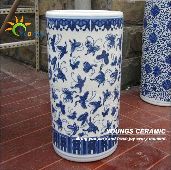 Vari 233 Chinois Bleu Et Blanc En C 233 Ramique Cylindre Porte Parapluie Vases Vases En Porcelaine