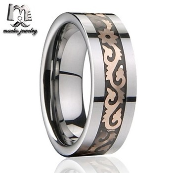 Tungsten Carbide Ring Band Men Women Celtic Jewelry Rose Gold Dragon Inlay Rings