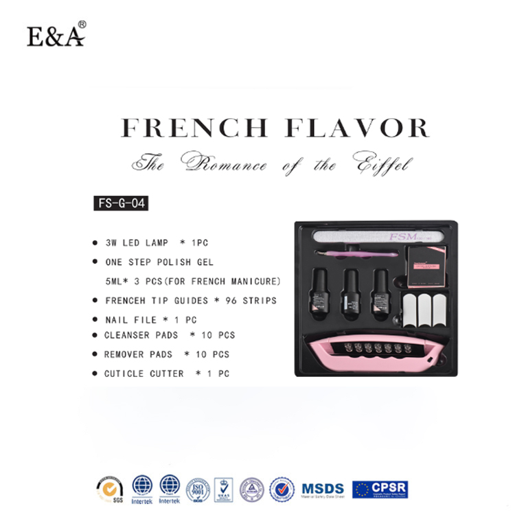 EA best quality cheap price simple soak off one step gel polish new package of French gel nail polish kit