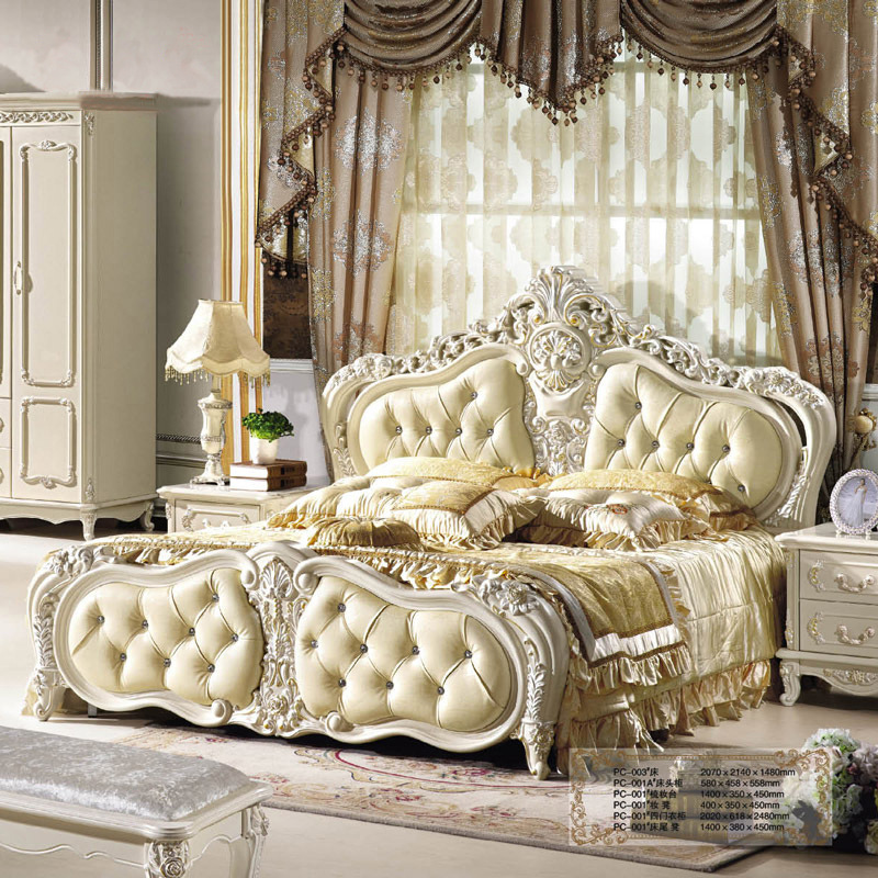 Style Queen King Size Leather Beds   Meter Double Bed Solid Wood Bed
