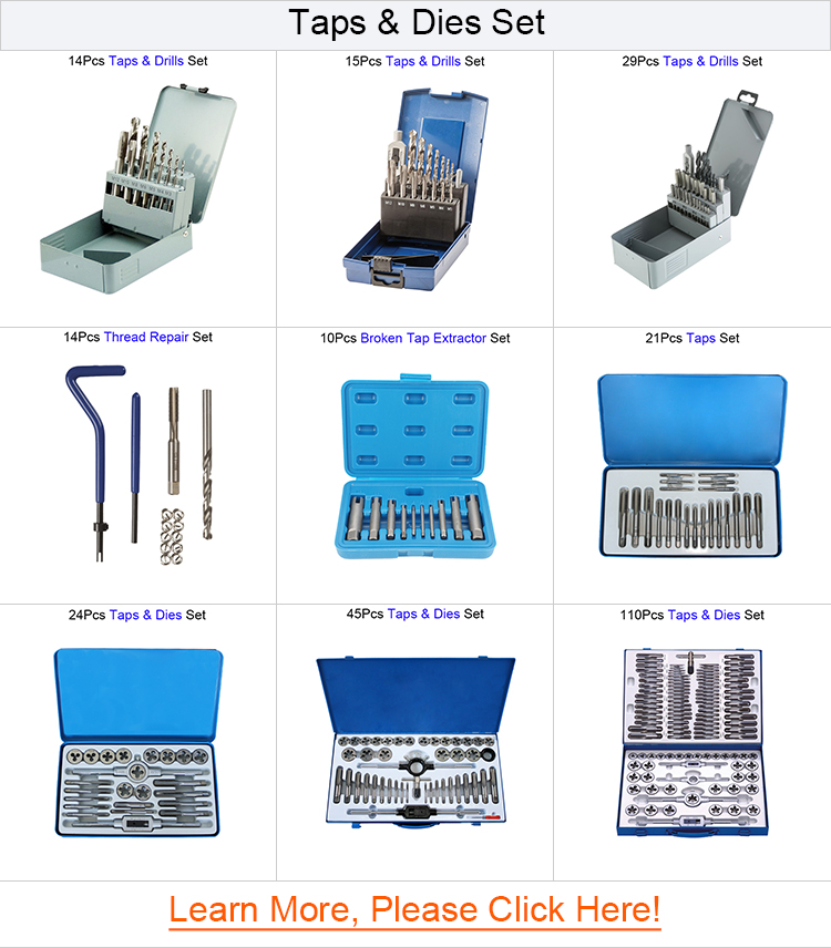 24 Piece Metric HSS Tap and Die Set for Hand and Machine Thread Cutting in Metal Box