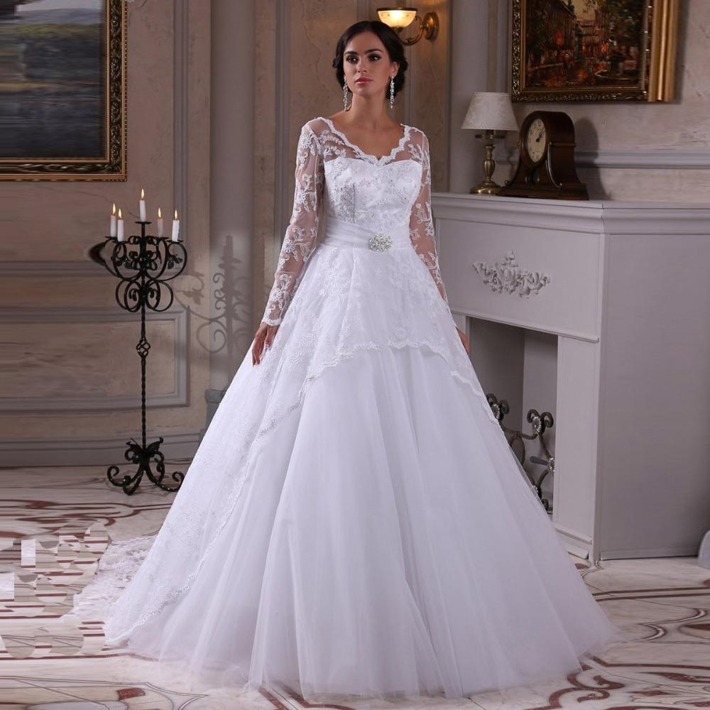 Sexy Sheer Long Sleeves Vintage Wedding Dress Vestido De