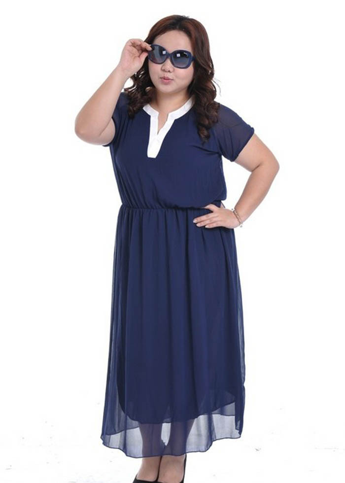 2013 fashion Plus Size chiffon Dress Female Summer Large ...