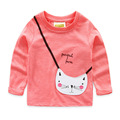 2016 Spring Fall new Girls Cartoon Tees Pretty Kids T Shirts Long Sleeve Cute Cotton Children