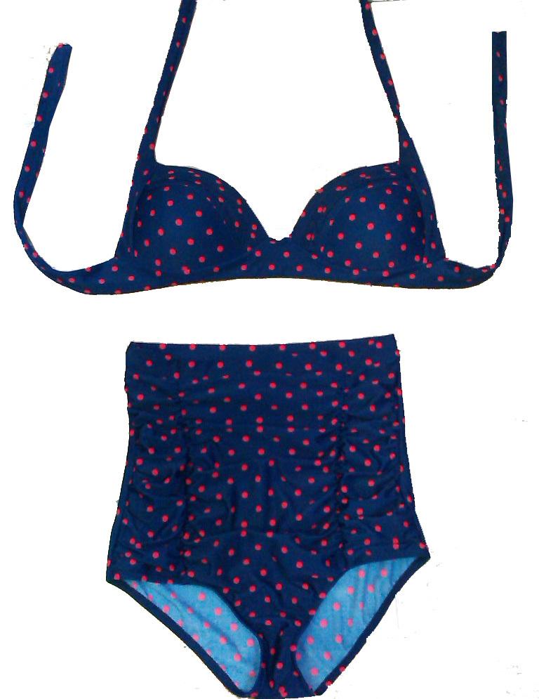 Red Navy Blue Polka Dot High Waisted Swimwear Vintage