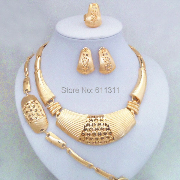 24K Gold Filled Big African Woman Costume Jewelry Set Good Quality