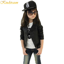 Kindstraum Spring Girls Leather Jacket Coat European Style Fashion Kids Outerwear Children Clothing PU Jacket HC008