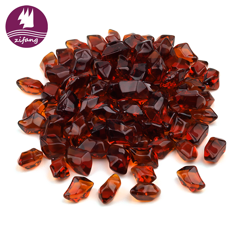 Top quality amber large craft beads fire pit glass beads fire glass crystals