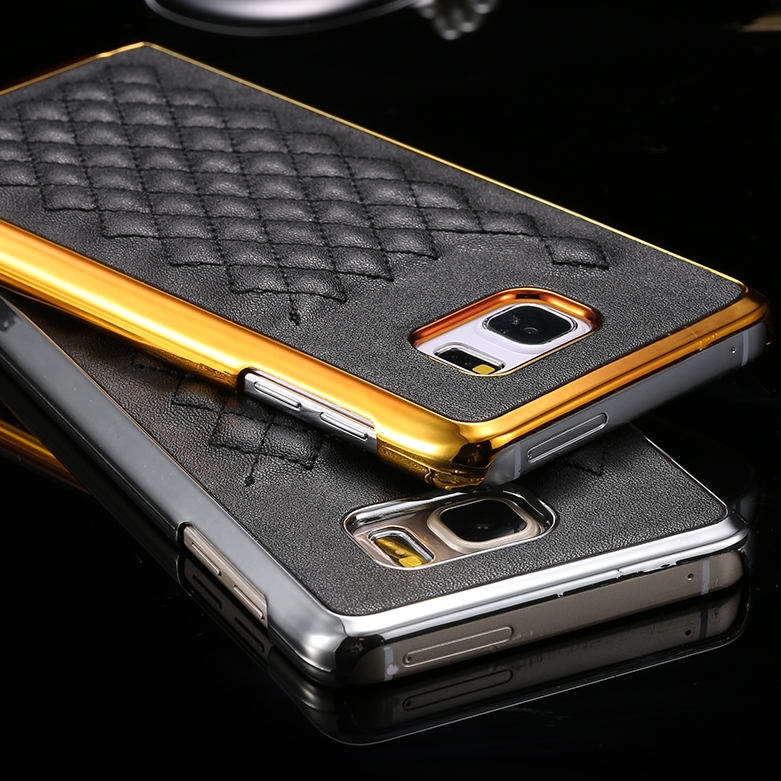 sports shoes 458fb da82c Gold Luxury Grid Leather Case For Samsung Galaxy Note 5 Phone Accessories  Fashion Vintage Slim Back Cover Capa For Samsung Note5