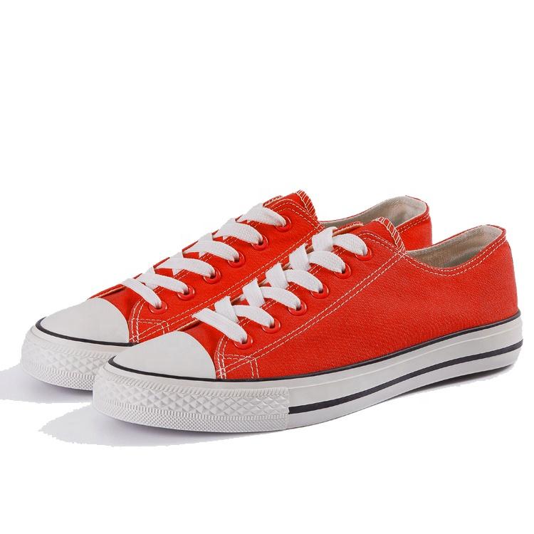 Прямая поставка с фабрики, однотонные красные вулканизированные парусиновые туфли унисекс, коричневая резиновая подошва