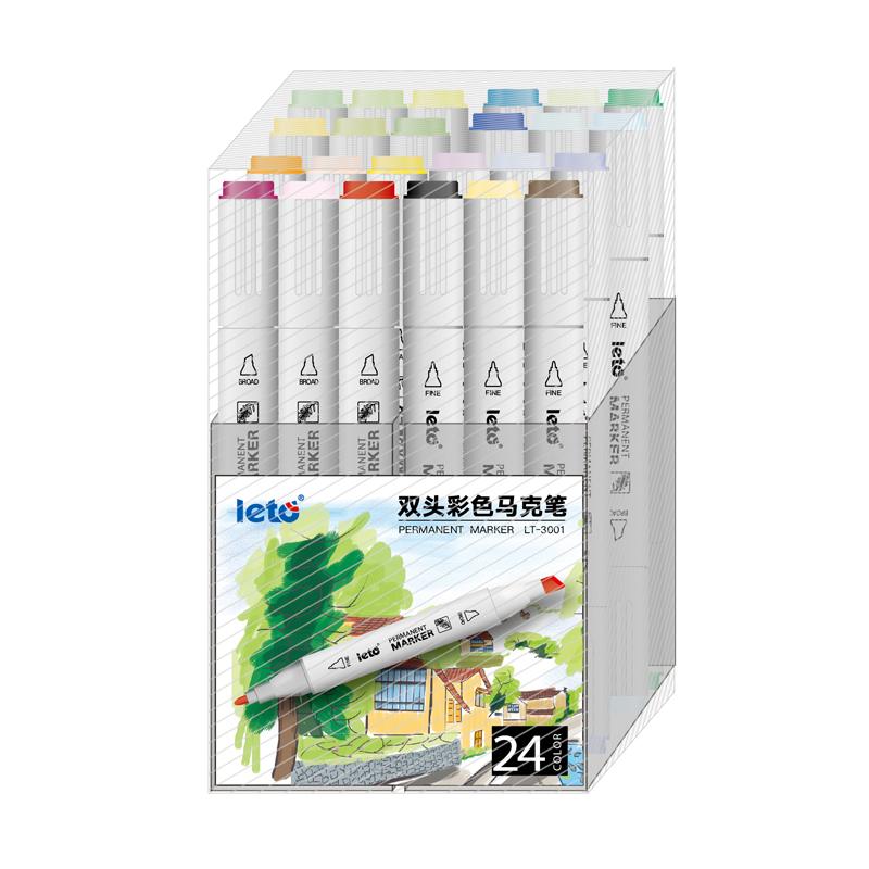 Цветные двусторонние маркеры, 24 упаковки, перманентные маркеры для творчества, Товары для офиса