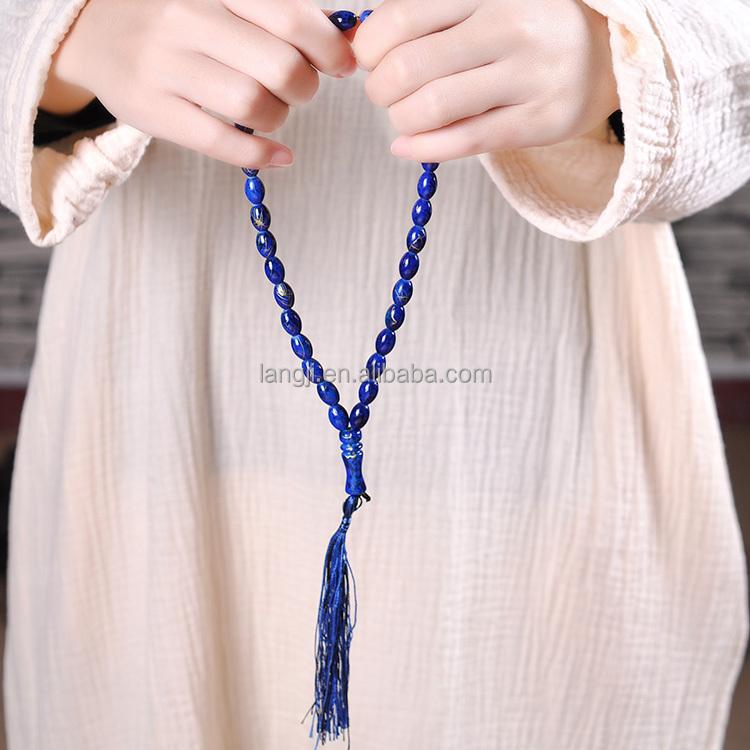 YS39 Blue prayer beads islamic allah sapphire muslim rosary jerusalem Meditation tasbih accessories perler beads