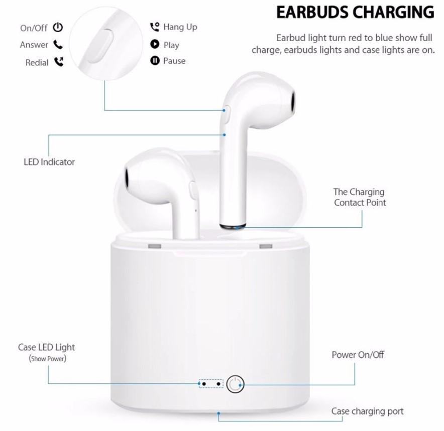 Oem Custom Logo Laser Logo v5.0 i7s tws Ture Wireless Earbuds With Portable Charging Box