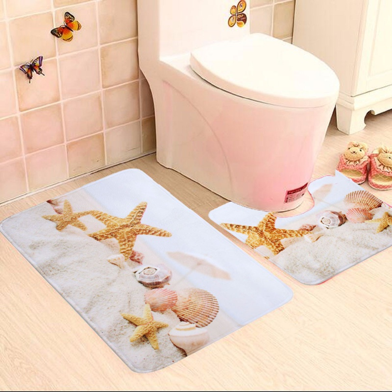 2020 Wholesale Bathroom Star Fish And Beach Shells Bath Mat