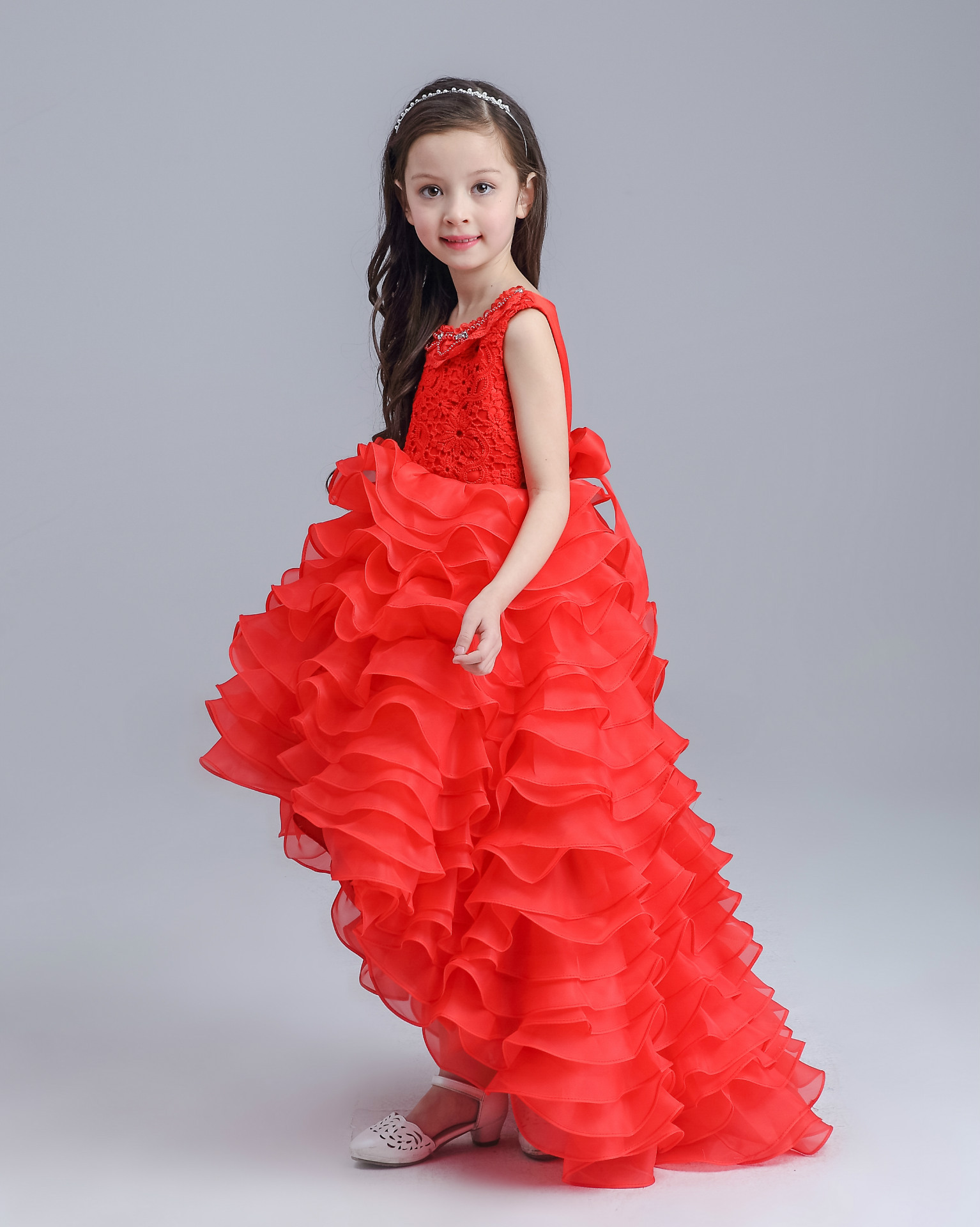 1e3d33c703f5 Teenage Long Tailed Girls Summer Dress Kids Girls Red White Wedding ...