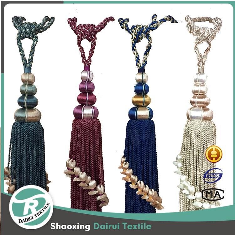 Hotsale hotel bedroom multicolor silk tassel fringe for curtain