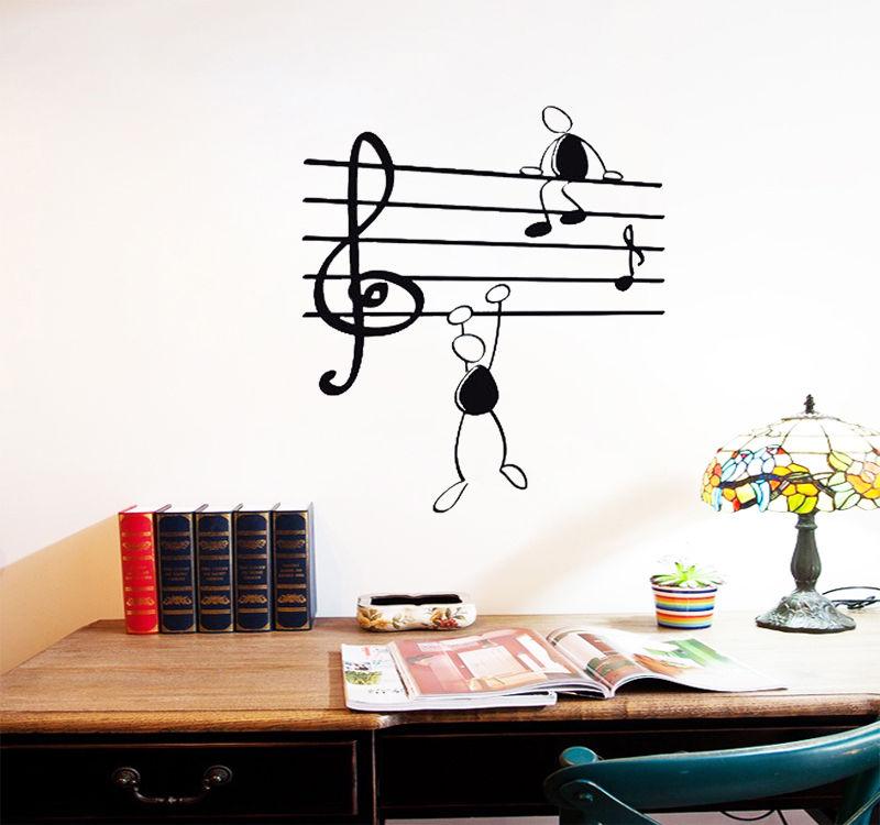 D433 Wall Sticker Music Notes Funny Guys For Living Room Vinyl Stickers Instrumen Art