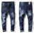 2018 high quality 100% cotton jeans men slim fit ripped denim jeans pants 18 boy jeans fashion men's clothing summer trousers ma