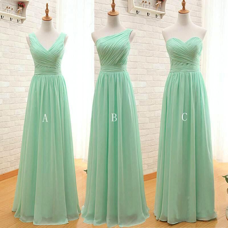 Mint Green Long Chiffon A Line Bridesmaid Dress Under 50