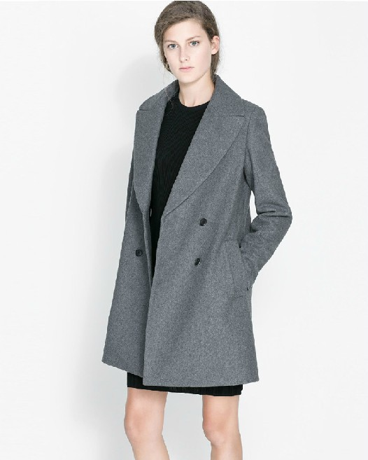 Шерстяные пункт пальто-пыльник растет в большие лацкане двубортный женщины пальто 4 цвета XXL