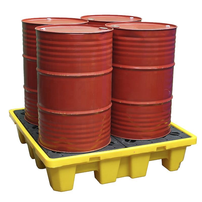 Пластиковый поддон с 4 барабанами и встроенным лотком для сдерживания разлива