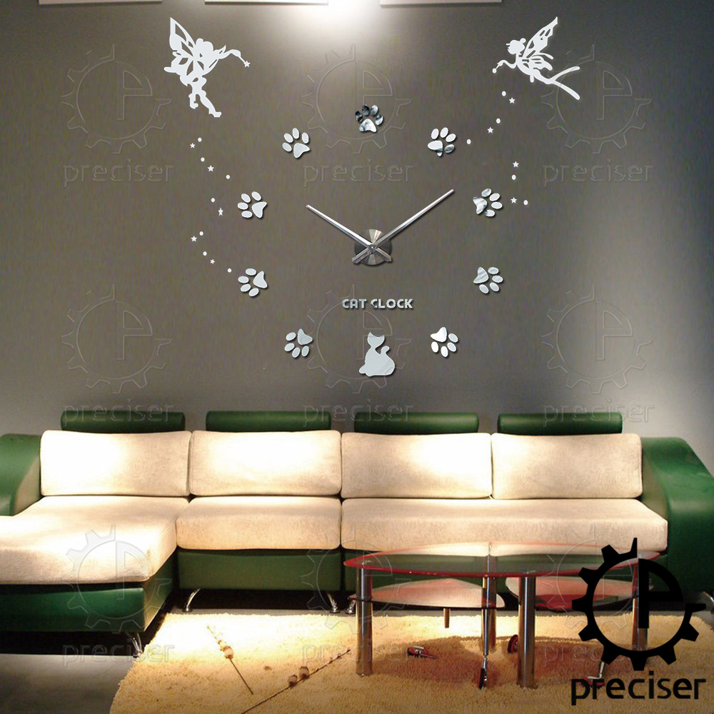 Wholesale 25 40 Large Oversized Diy 3d Wall Clock Angel Guardian