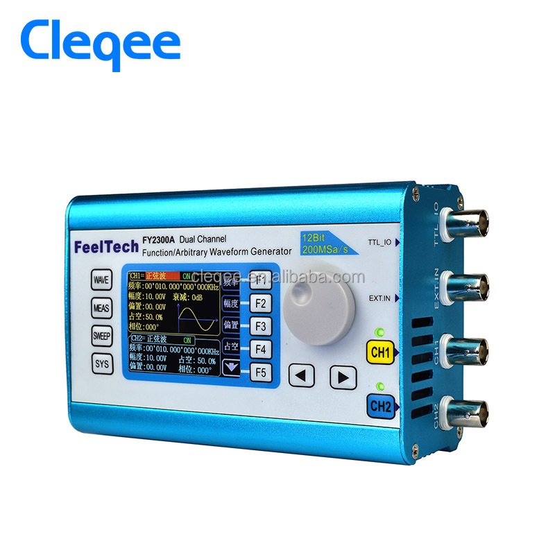 Cleqee FY2300-20MHz Arbitrary Waveform Dual Channel High Frequency Signal Generator 200MSa/s 100MHz Frequency meter DDS