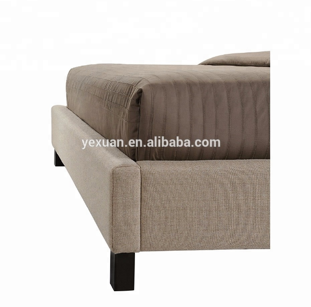 Fabric upholstered bed with button tufted headboard in home furniture