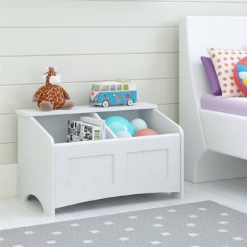 Kids Living Room Furniture White Color Two Chest Wooden Toy Box Wholesale