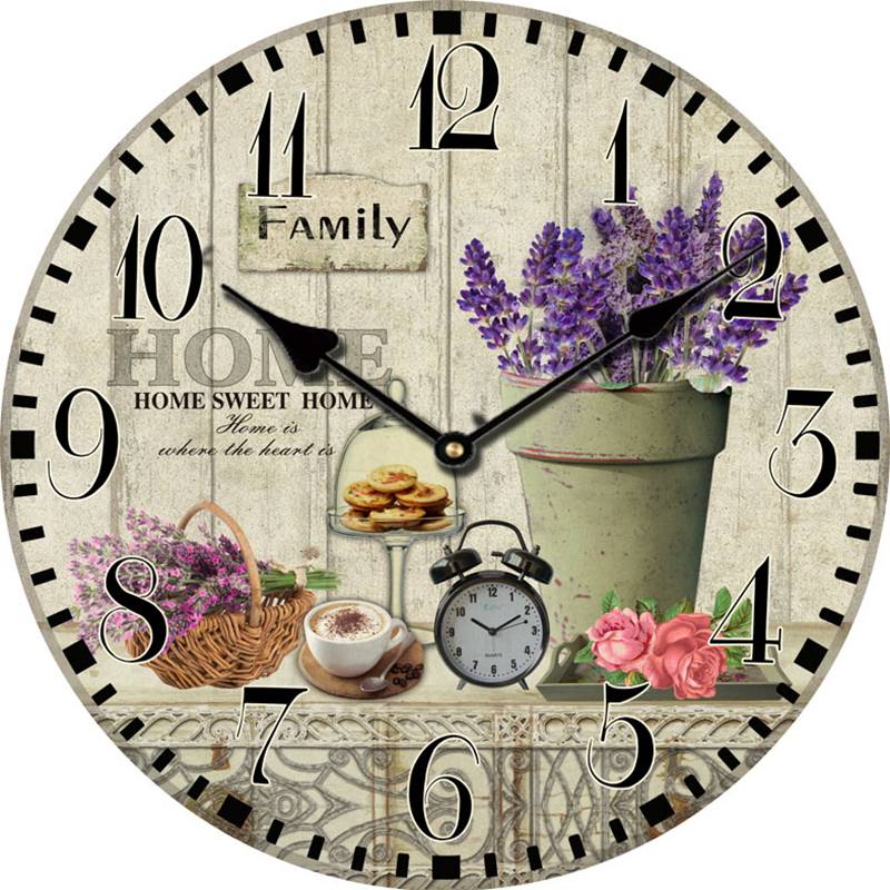 lavender large decorative wall clocks modern design living room antique wooden vintage wall. Black Bedroom Furniture Sets. Home Design Ideas