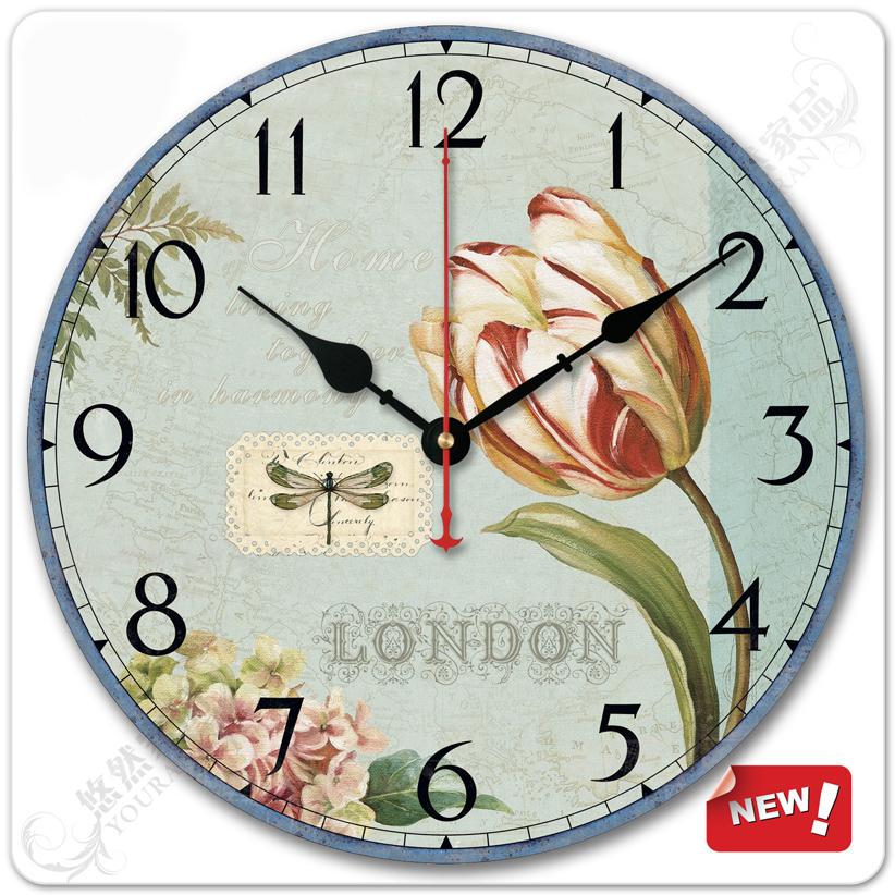 Fashion home 12-inch decoration rustic mute quartz wall clock table