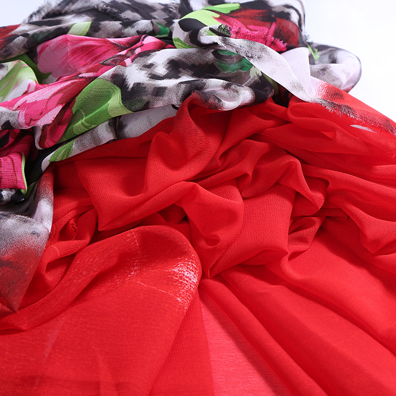 100% polyester custom floral printed chiffon fabric