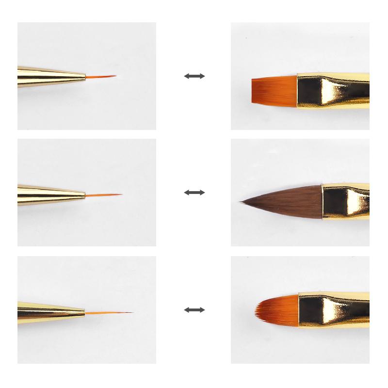 Двусторонние кисти для нанесения УФ-геля, кисти с черной ручкой для дизайна ногтей «сделай сам»