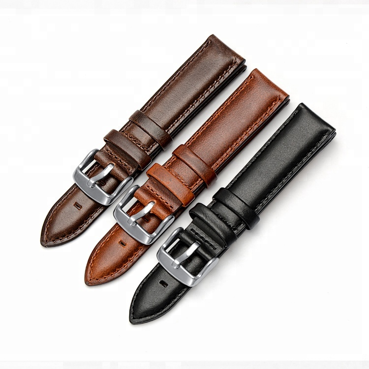 Best selling Smooth Oil Genuine Leather Watch Band wholesale watchband leather watch strap