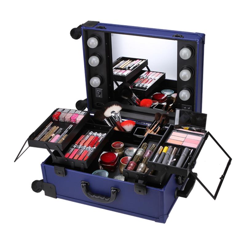 Professional Rolling Makeup Artist Studio Cosmetic Case