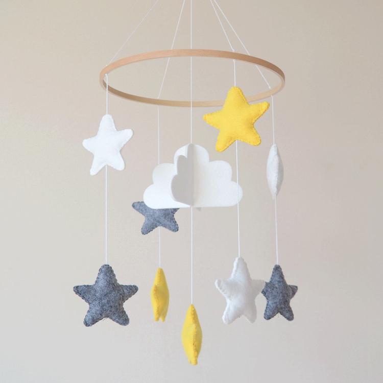 Custom home stars decorations nordic gift baby newborn toy wool felt hanging nursery mobile