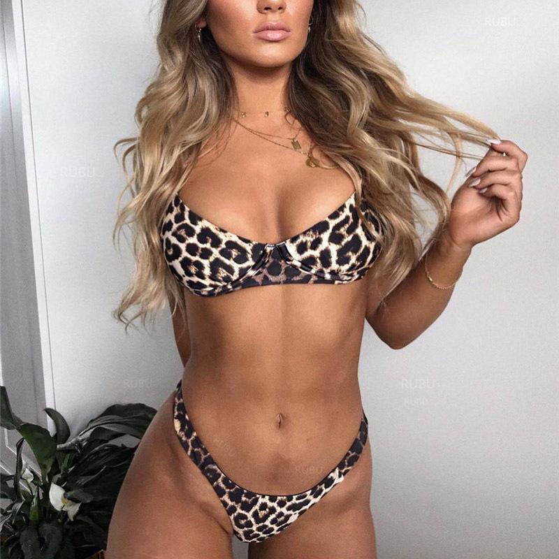 Gentillove, повседневный купальник, комплект из 2 предметов, женский леопардовый комплект, сексуальный бюстгальтер с подкладкой, пляжный комплек...(Китай)