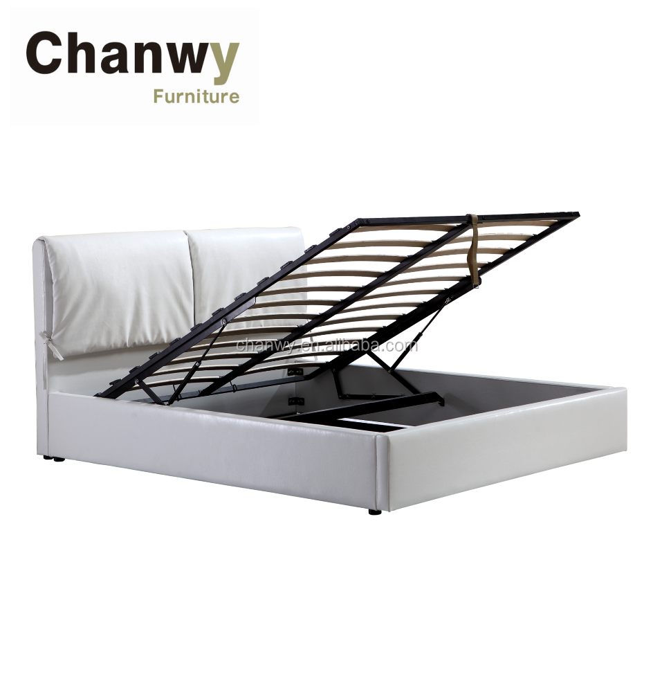 queen size storage flat bed frame with gas lift