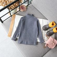 Новое поступление, осенне-зимний хлопковый теплый вязаный свитер в полоску для маленьких мальчиков и девочек, универсальный модный милый с...(Китай)