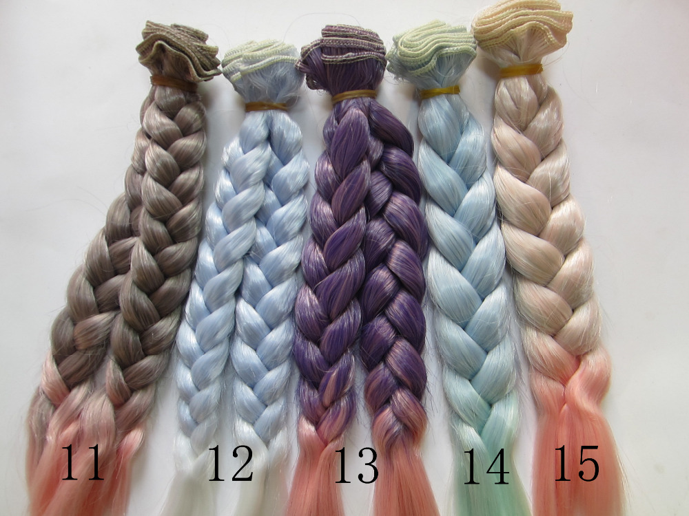 20 100CM Doll Wigs hair BJD SD DIY High temperature Wire Handmade Doll Braids Fapai Gradient