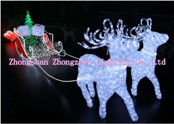 Light Up Santa With Sleigh Reindeer Christmas Decoration