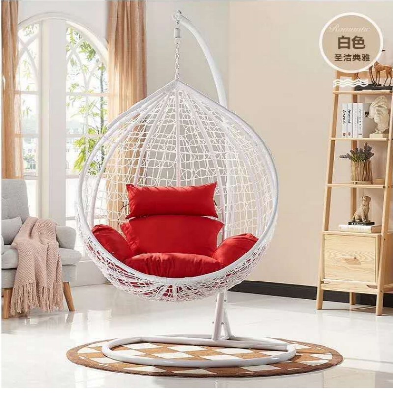 Outdoor Patio Furniture Garden Double Seater Rattan Hanging Egg Swing Chair with Cushion
