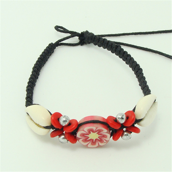 New creative modelling Eco-friendly sea shell+red wooden beads+flower of wood braided bracelet